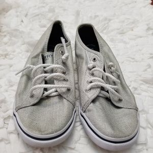 Sperry Light Grey Lace Up Girls Top Sider.